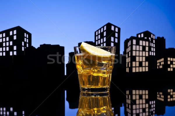 Metropolis whisky zuur cocktail oranje Stockfoto © 3523studio
