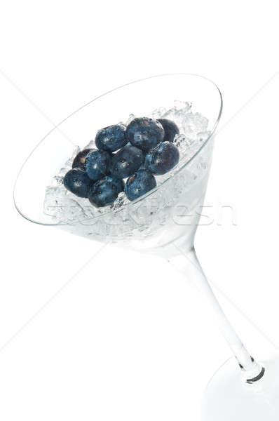 Arándano cóctel vaso de martini blanco hielo verde Foto stock © 3523studio