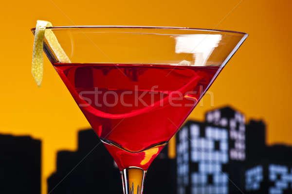 Világváros kozmopolita koktél rövid vodka vörösáfonya Stock fotó © 3523studio