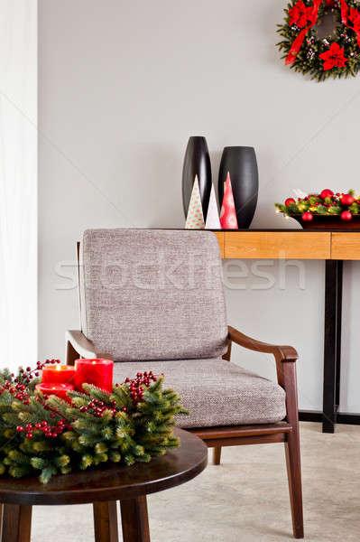 Stok fotoğraf: Gri · sandalye · parlak · advent · dekorasyon · ahşap