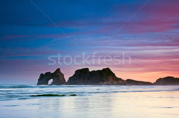 午前 ビーチ 炎のような 日の出 空 ストックフォト © 3523studio