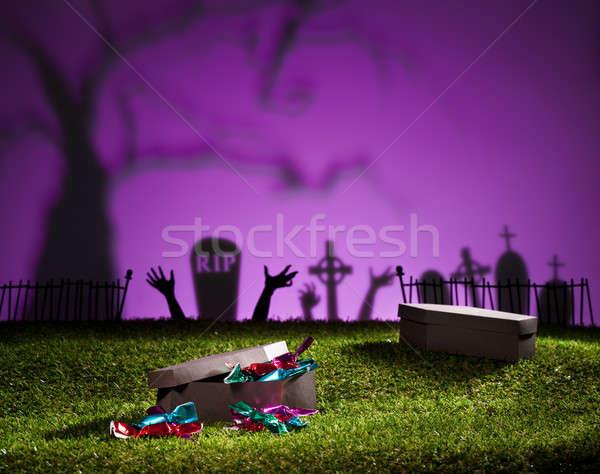 Halloween tabut çim şekerleme dizayn Stok fotoğraf © 3523studio