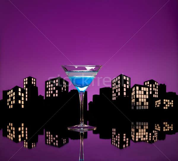 Metrópoli azul martini cóctel horizonte frutas Foto stock © 3523studio