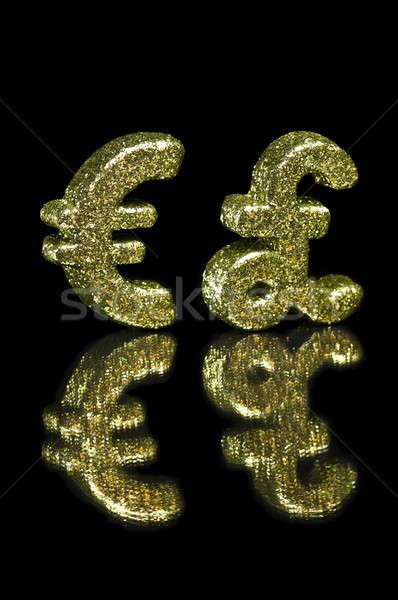 Arany csillámlás Euro brit font szimbólum Stock fotó © 3523studio