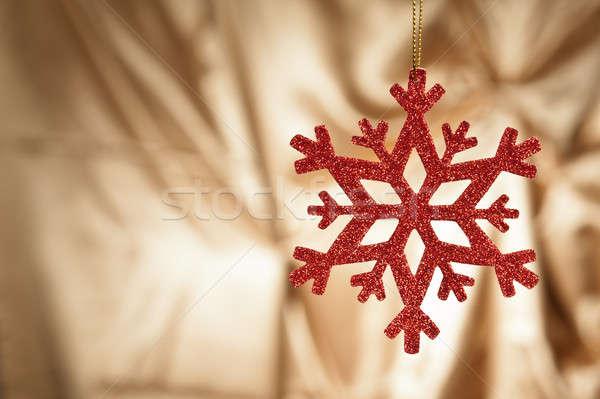 красный снежинка золото Рождества счастливым аннотация Сток-фото © 3523studio