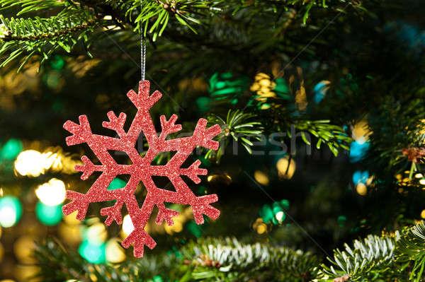 красный искусственный снежинка рождественская елка зеленый праздников Сток-фото © 3523studio