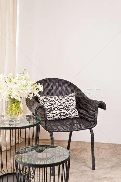 Сток-фото: коричневый · Председатель · интерьер · белый · стены · древесины