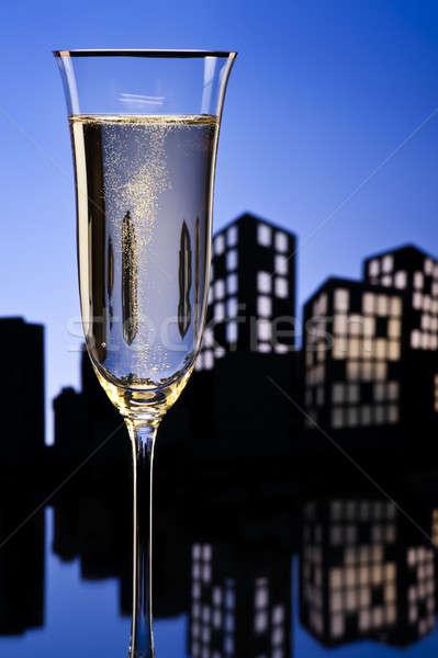 Metropoli champagne cocktail luce ristorante Foto d'archivio © 3523studio
