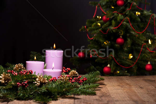 Drie kaarsen bloem arrangement christmas Stockfoto © 3523studio