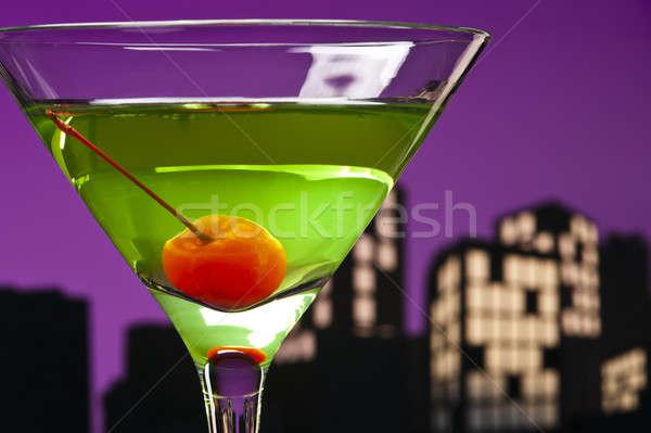 Metrópoli manzana martini cóctel horizonte feliz Foto stock © 3523studio