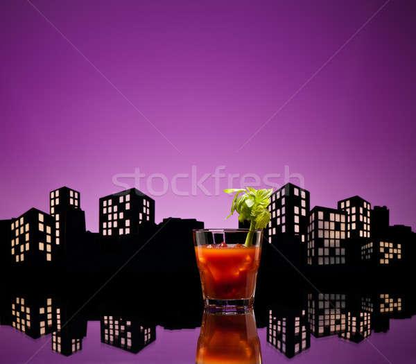 Világváros véres koktél városkép étterem zöld Stock fotó © 3523studio