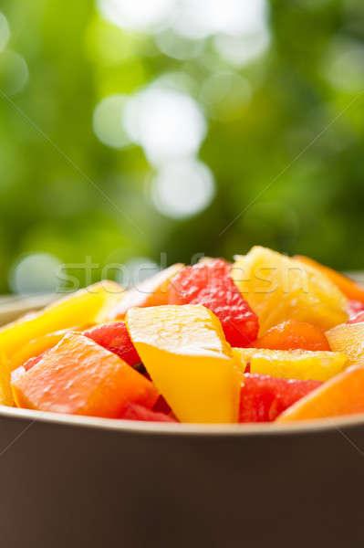 Een kom gemengd tropische vruchten salade natuur Stockfoto © 3523studio