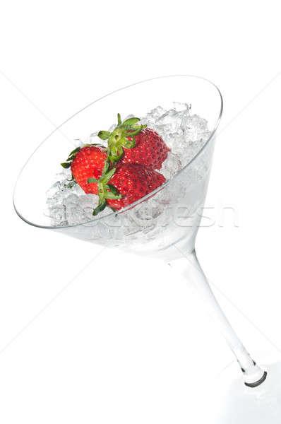 Eper koktél martinis pohár fehér jég zöld Stock fotó © 3523studio