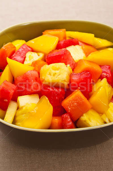 Stock photo: One bowl of Mixed tropical fruit salad