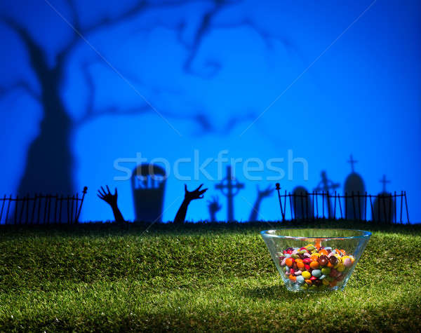 Zombie handen kerkhof ontwerp groene Blauw Stockfoto © 3523studio