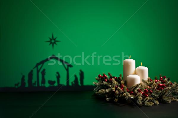 Geburt jesus Silhouette Krippe Baby Liebe Stock foto © 3523studio