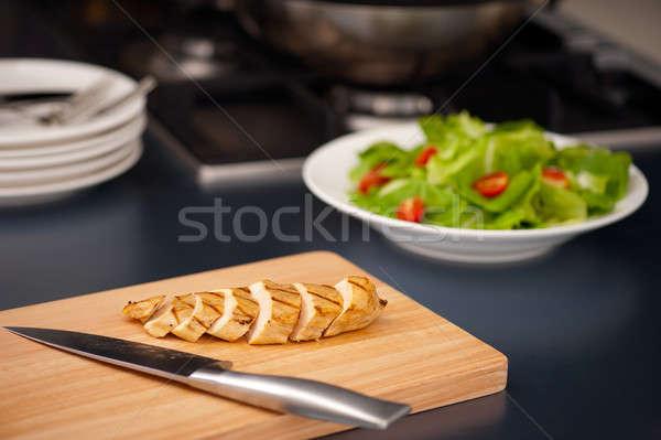 Kipfilet salade bestanddeel mooie stilleven Stockfoto © 3523studio