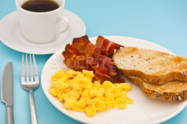 American breakfast, bacon scrambled egg and coffee Stock photo © 3523studio
