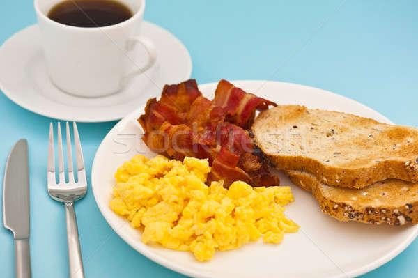アメリカン 朝食 ベーコン 卵 コーヒー カップ ストックフォト © 3523studio