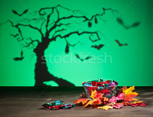 Halloween tree bats and sweets Stock photo © 3523studio