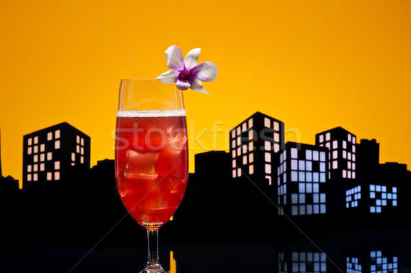 Metropolis Singapore Sling cocktail in city skyline setting Stock photo © 3523studio