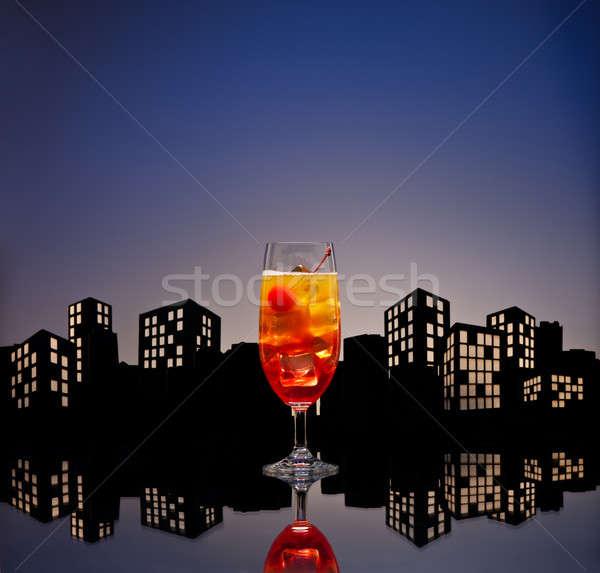ストックフォト: 大都市 · テキーラ · 日の出 · カクテル · ガラス