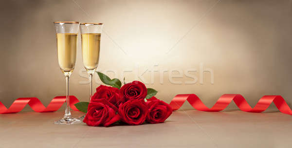 Champagne glasses and roses  Stock photo © 3523studio