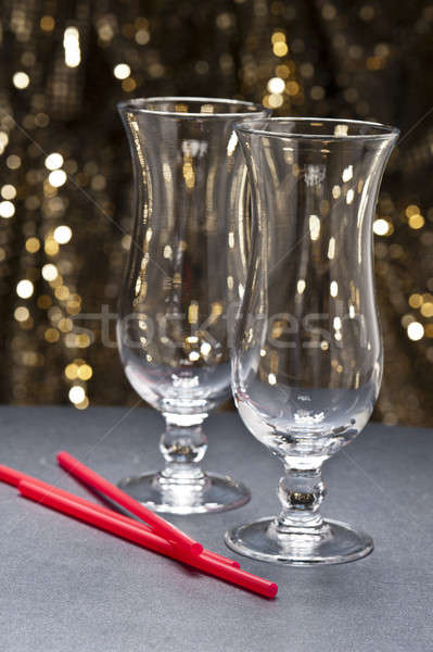 Long drink glasses, Highball glasses with straws in front of gli Stock photo © 3523studio