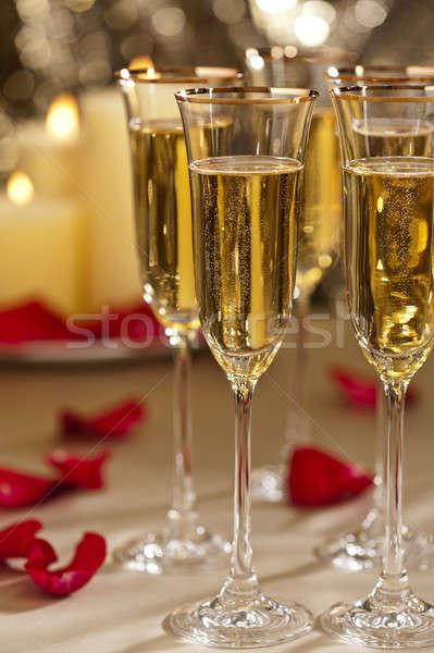 Ouro brilho recepção de casamento champanhe velas casamento Foto stock © 3523studio