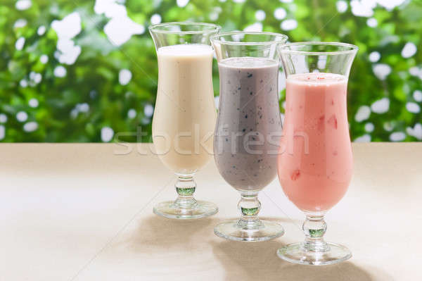 Blueberry, Strawberry and Banana milk shake  Stock photo © 3523studio