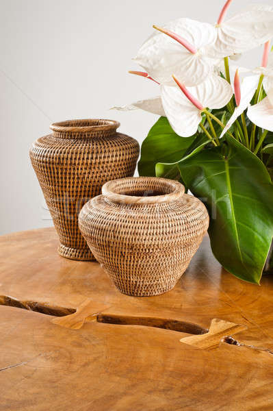 Vases and flowers as interior decoration Stock photo © 3523studio