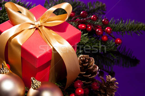 Red present box in a Christmas setting close up shoot Stock photo © 3523studio