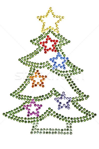 Karácsonyfa zöld tél kék csillag ajándék Stock fotó © 3523studio