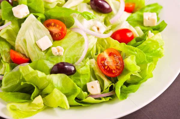 Stockfoto: Vers · Grieks · salade · organisch · ingrediënten · groene