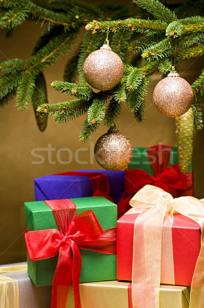 Stock photo: Christmas presents decorated