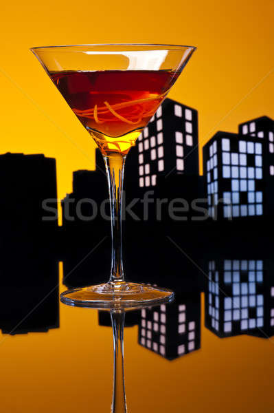 Metropolis Manhattan cocktail whiskey zoete Stockfoto © 3523studio
