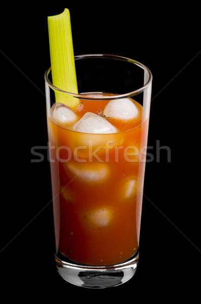 Stockfoto: Bloedig · zwarte · cocktail · vruchten · glas · ijs