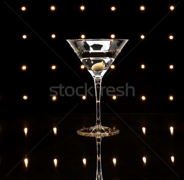 Nice освещение воды стекла Бар Сток-фото © 3523studio