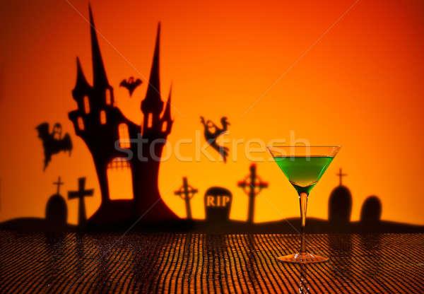 Сток-фото: зеленый · Martini · Хэллоуин · дома · счастливым