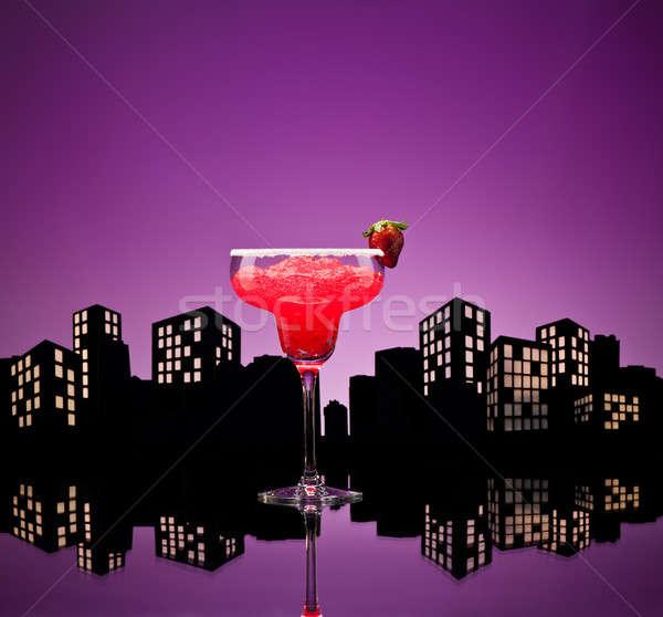 大都市 イチゴ カクテル ガラス 夏 ストックフォト © 3523studio