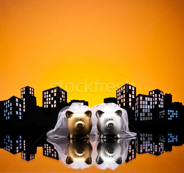 Metropolis City lesbian piggy bank civil union Stock photo © 3523studio