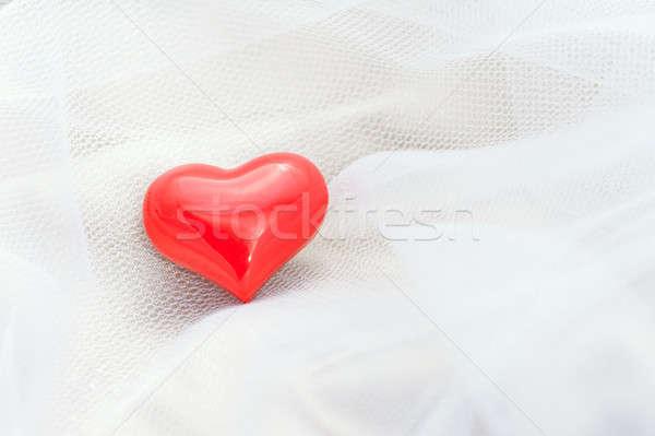 Vermelho coração branco véu romântico Foto stock © 3523studio