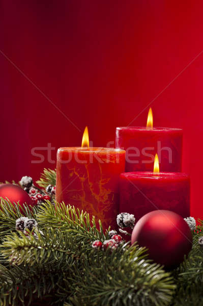 Advent çelenk yanan mumlar Noel zaman Stok fotoğraf © 3523studio