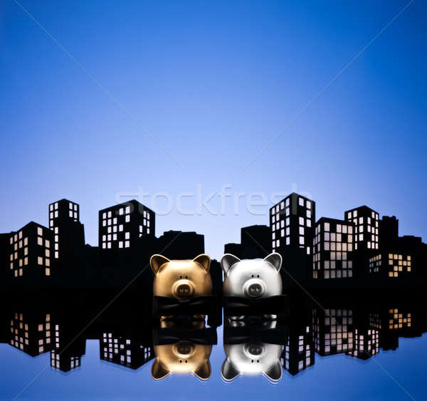 Metropolis stad homo spaarvarken burgerlijk unie Stockfoto © 3523studio