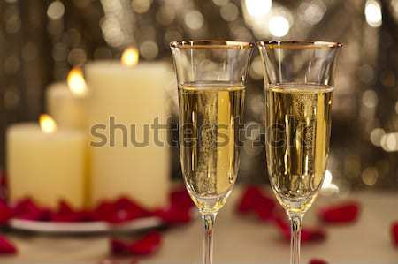Champagner Gläser Gold glitter Licht Design Stock foto © 3523studio