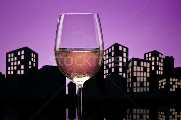 Világváros fehérbor városkép rózsa fény üveg Stock fotó © 3523studio