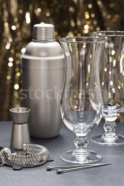 Two Highball glass with bartender tools Stock photo © 3523studio
