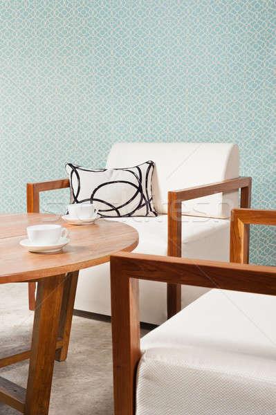Bruin witte meubels woonkamer turkoois Blauw Stockfoto © 3523studio