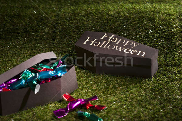 Halloween coffin on lawn with sweets Stock photo © 3523studio