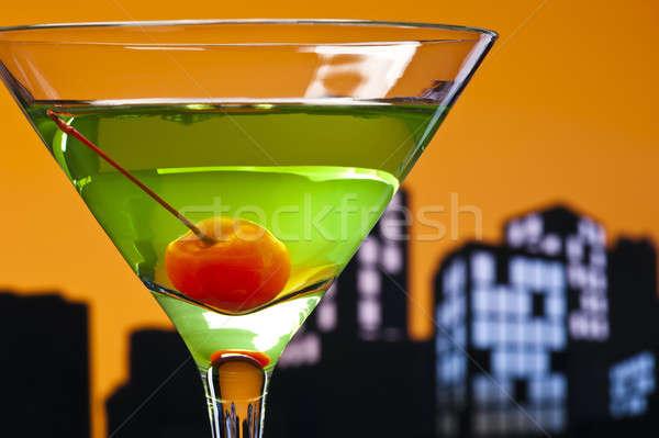 大都市 リンゴ マティーニ カクテル スカイライン 幸せ ストックフォト © 3523studio